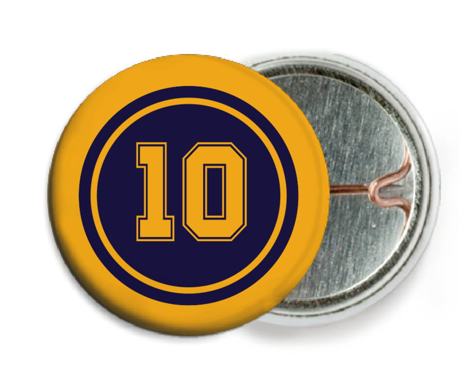 custom pin back buttons - navy & gold - football (set of 6)