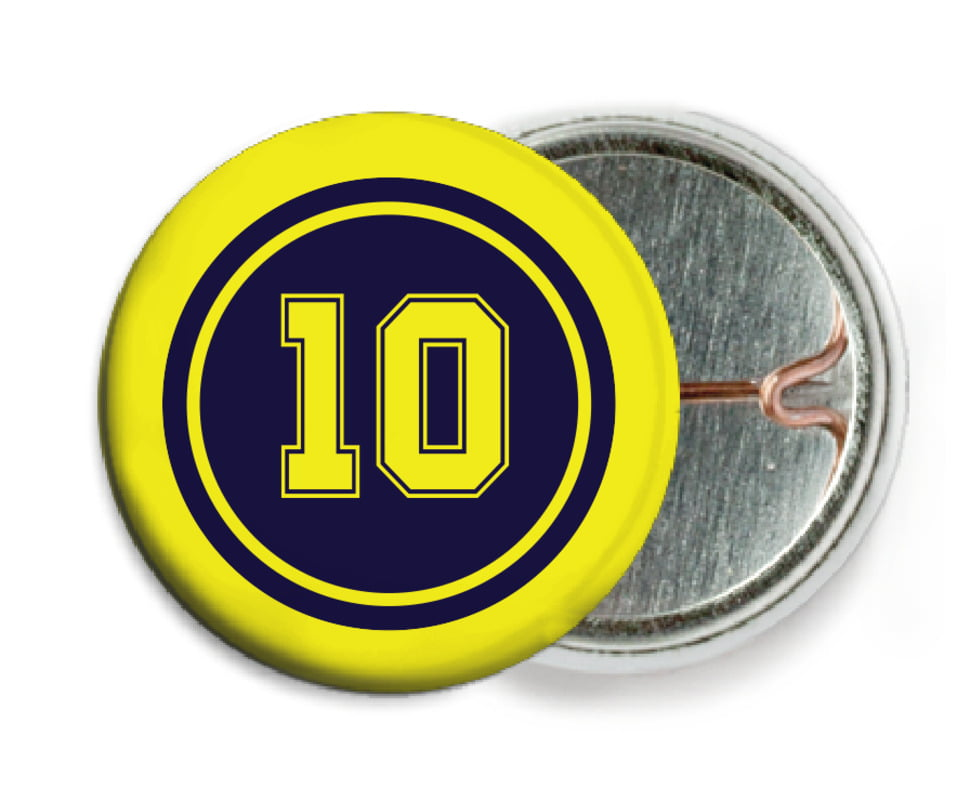 custom pin back buttons - navy & yellow - football (set of 6)