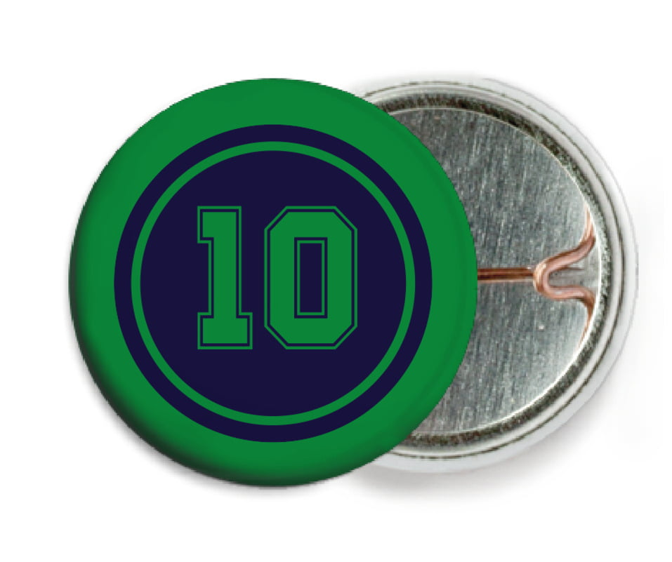 custom pin back buttons - navy & green - football (set of 6)