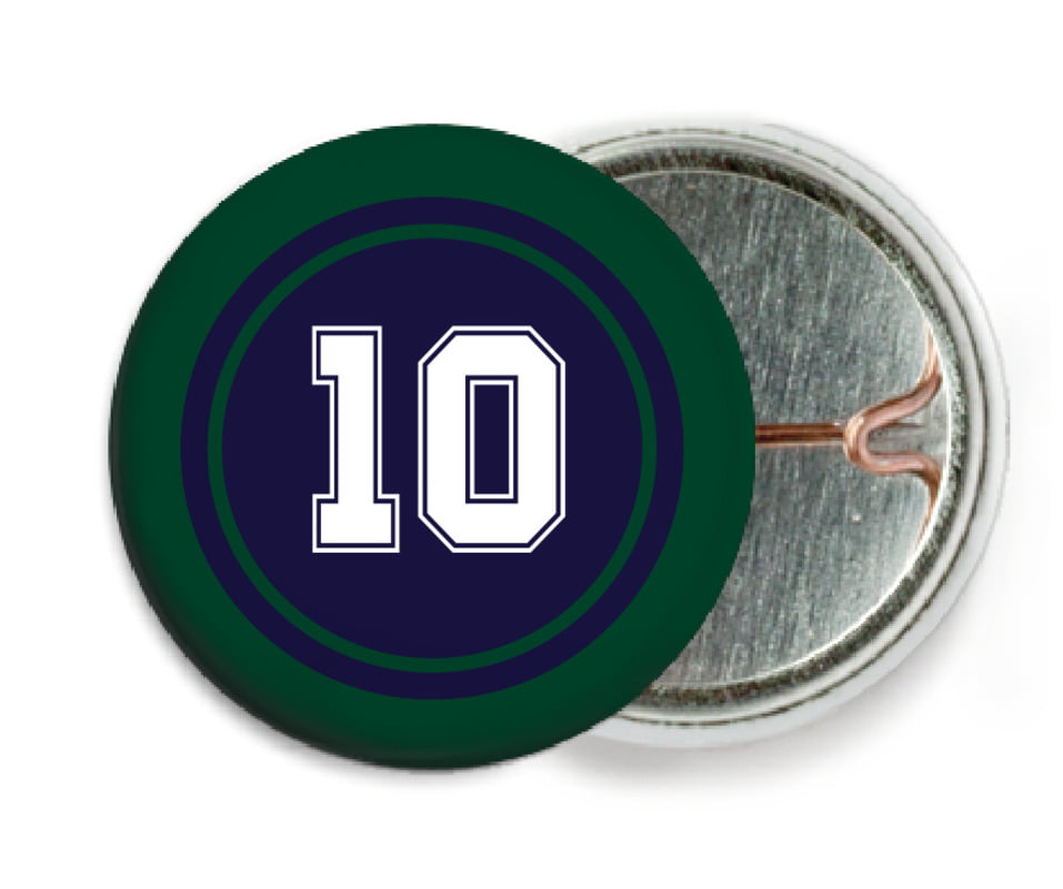 custom pin back buttons - navy & forest - football (set of 6)