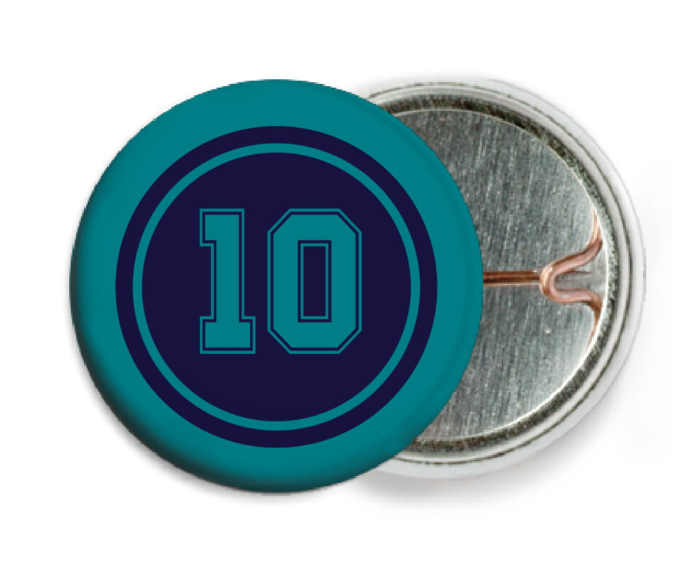 custom pin back buttons - navy & teal - football (set of 6)