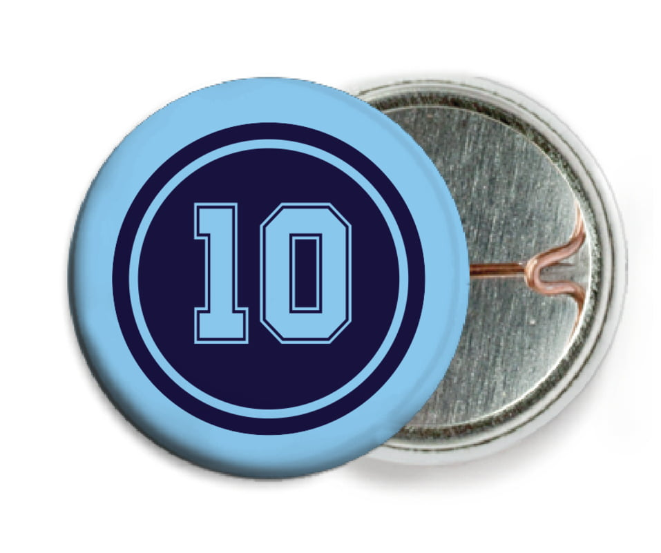 custom pin back buttons - navy & light blue - football (set of 6)