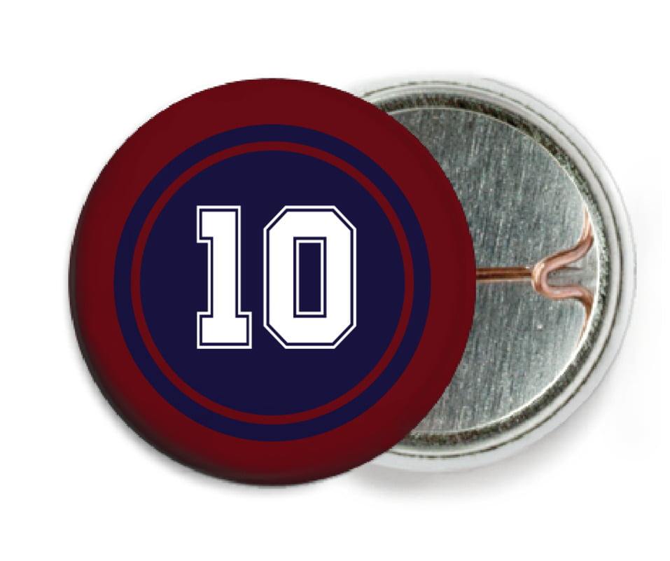 custom pin back buttons - navy & maroon - football (set of 6)