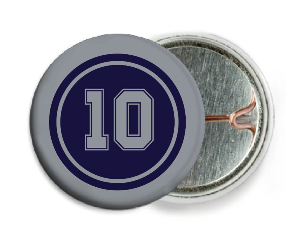 custom pin back buttons - navy & silver - football (set of 6)