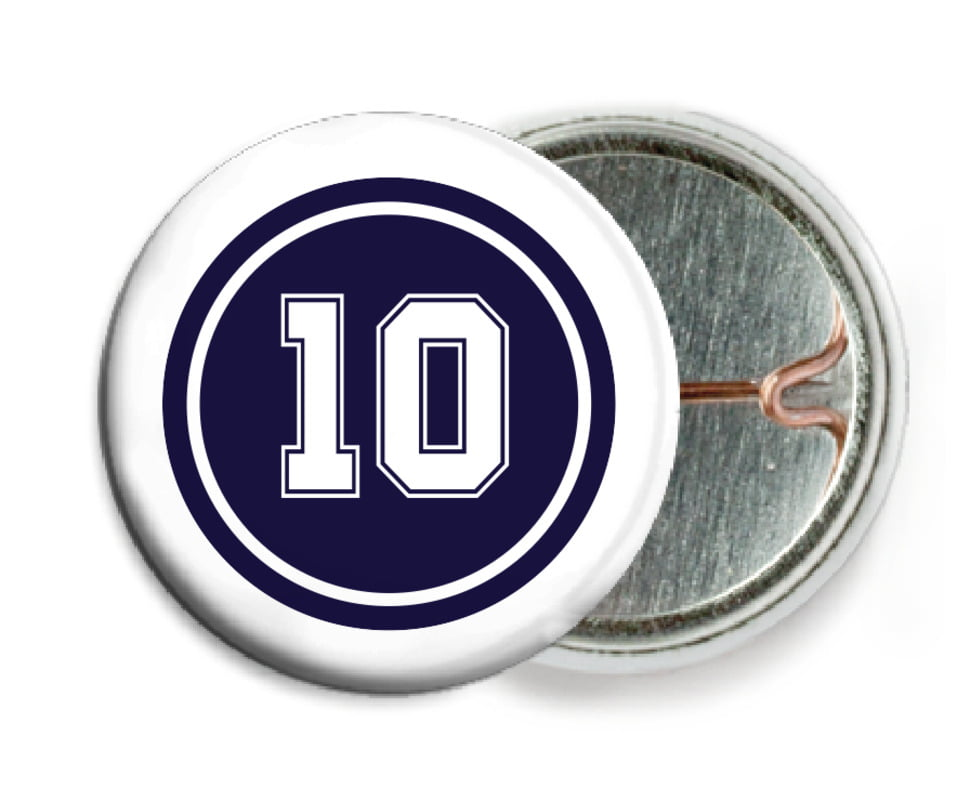 custom pin back buttons - navy & white - football (set of 6)