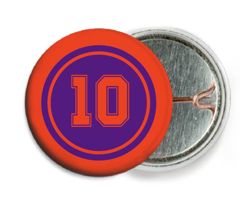 custom pin back buttons - purple & orange - football (set of 6)