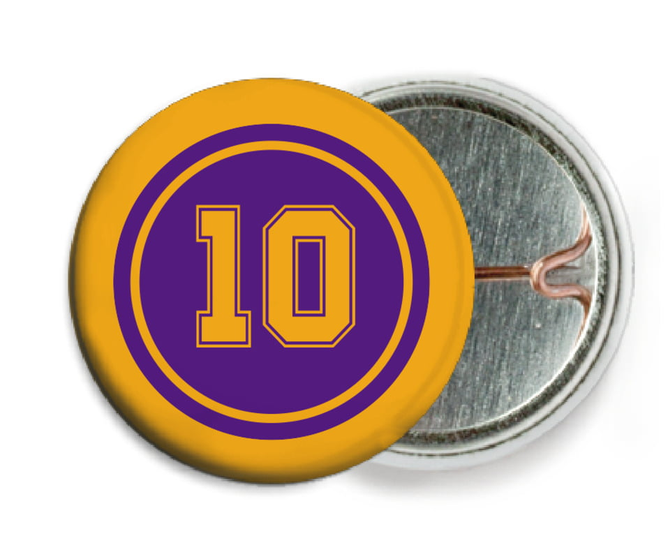 custom pin back buttons - purple & gold - football (set of 6)