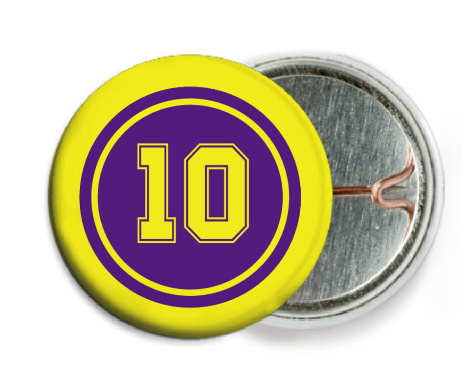custom pin back buttons - purple & yellow - football (set of 6)