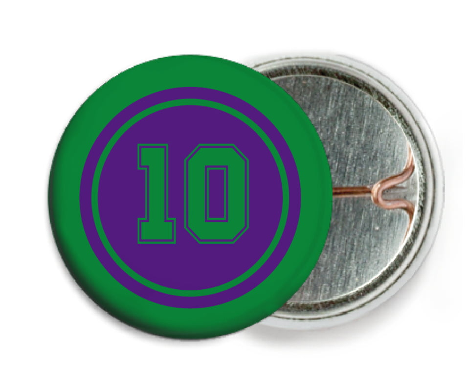 custom pin back buttons - purple & green - football (set of 6)