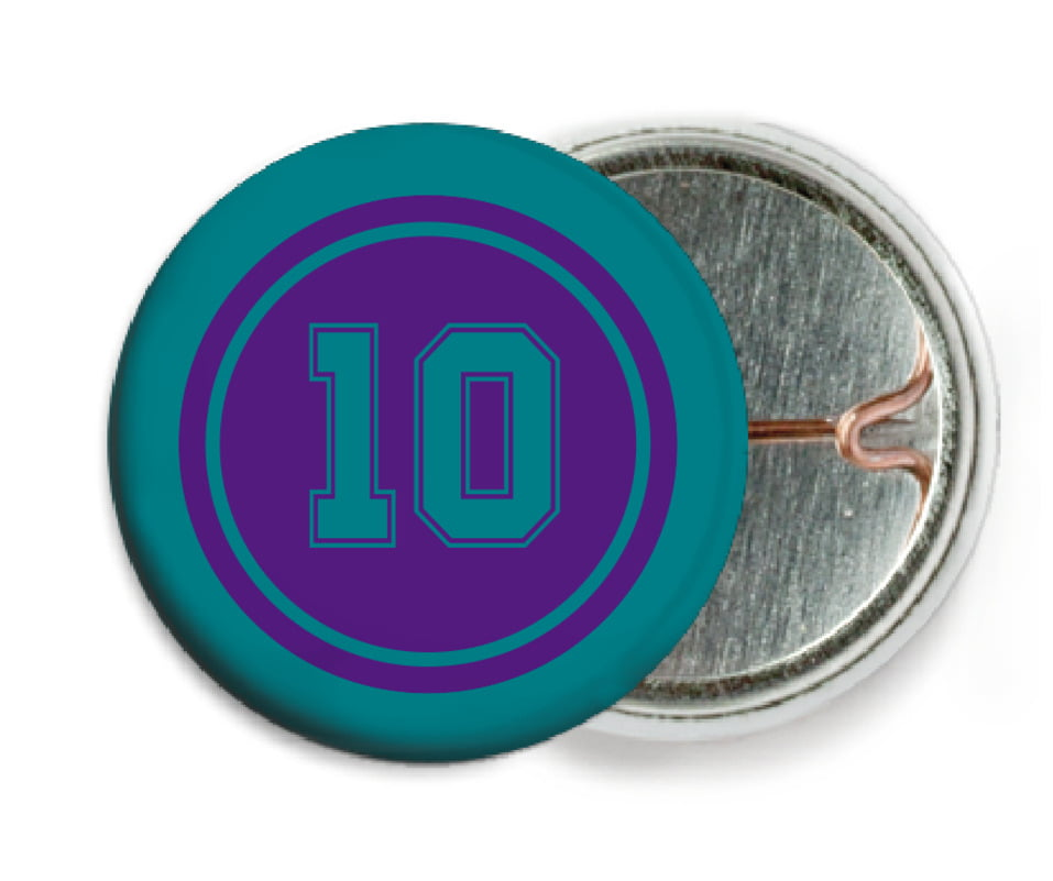 custom pin back buttons - purple & teal - football (set of 6)