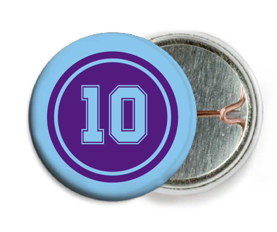 custom pin back buttons - purple & light blue - football (set of 6)