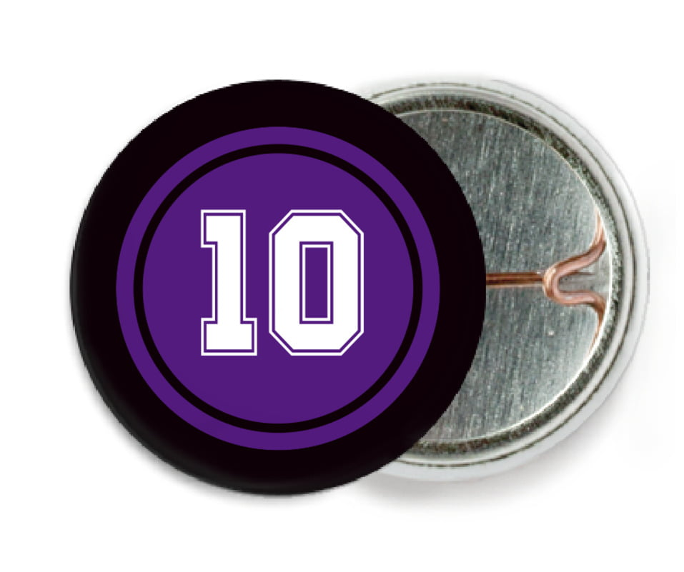 custom pin back buttons - purple & black - football (set of 6)