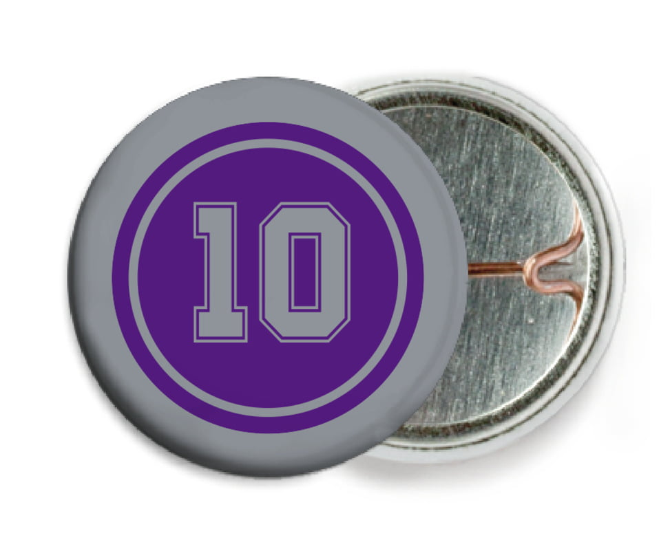 custom pin back buttons - purple & silver - football (set of 6)