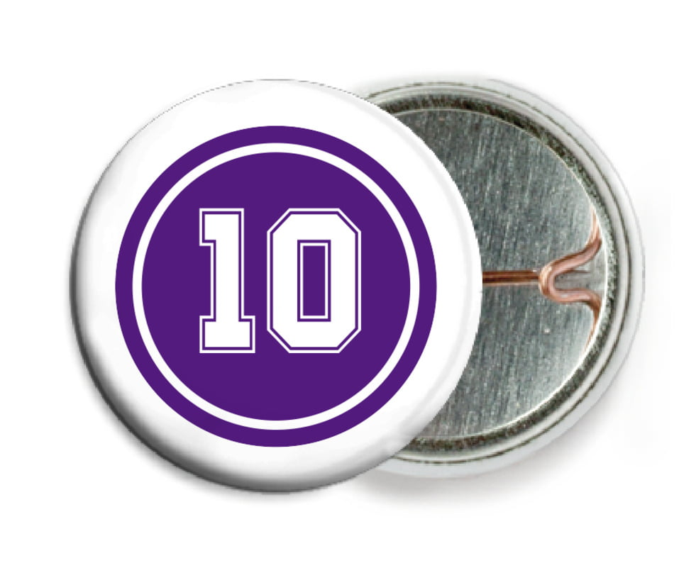 custom pin back buttons - purple & white - football (set of 6)