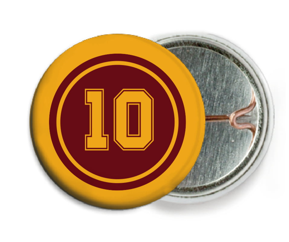 custom pin back buttons - maroon & gold - football (set of 6)