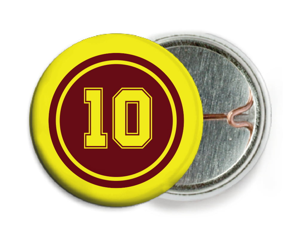 custom pin back buttons - maroon & yellow - football (set of 6)