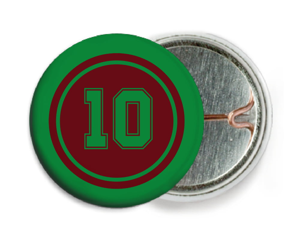 custom pin back buttons - maroon & green - football (set of 6)