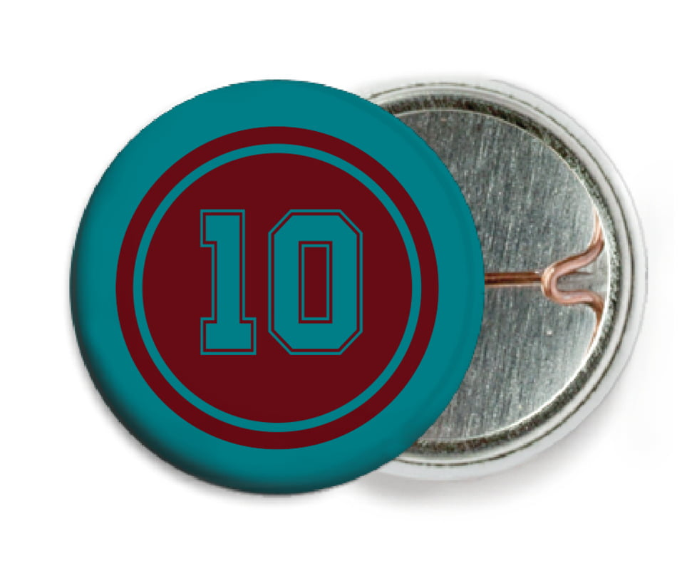 custom pin back buttons - maroon & teal - football (set of 6)