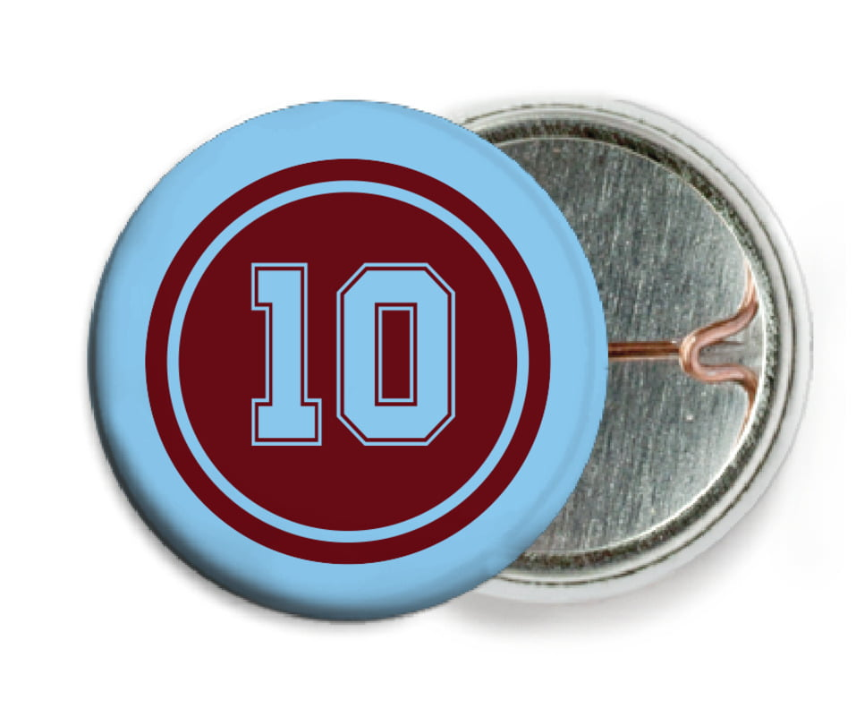 custom pin back buttons - maroon & light blue - football (set of 6)