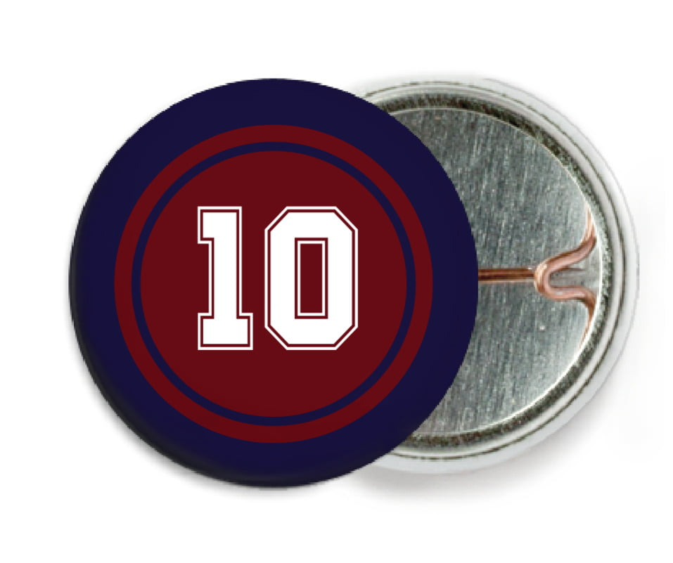 custom pin back buttons - maroon & navy - football (set of 6)