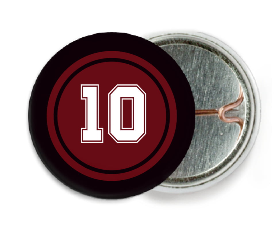 custom pin back buttons - maroon & black - football (set of 6)