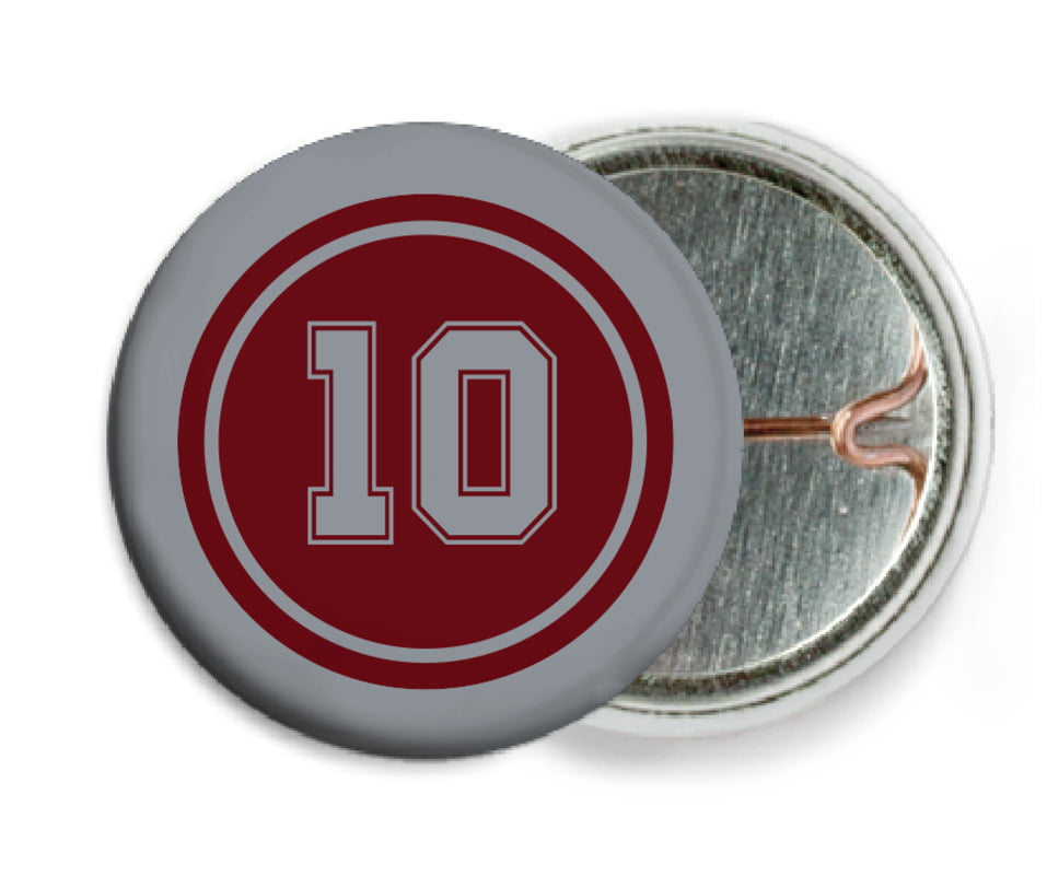custom pin back buttons - maroon & silver - football (set of 6)