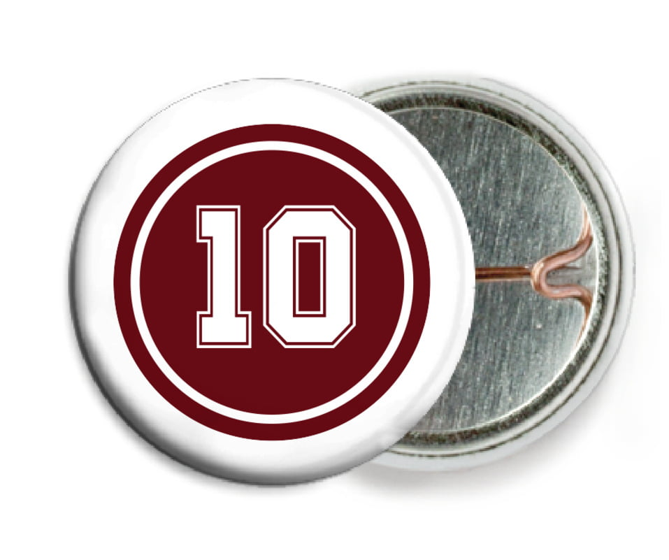 custom pin back buttons - maroon & white - football (set of 6)
