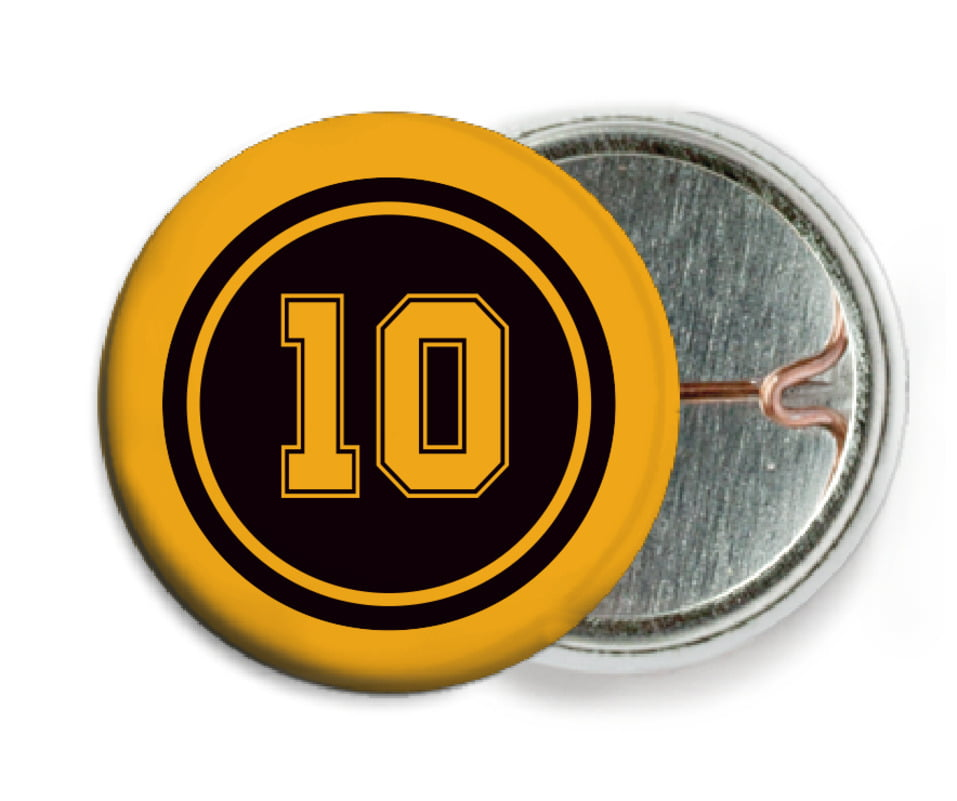 custom pin back buttons - black & gold - football (set of 6)