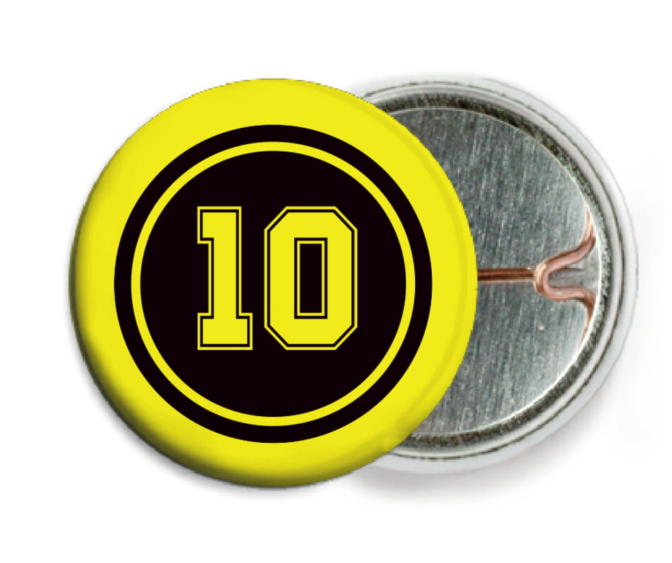 custom pin back buttons - black & yellow - football (set of 6)