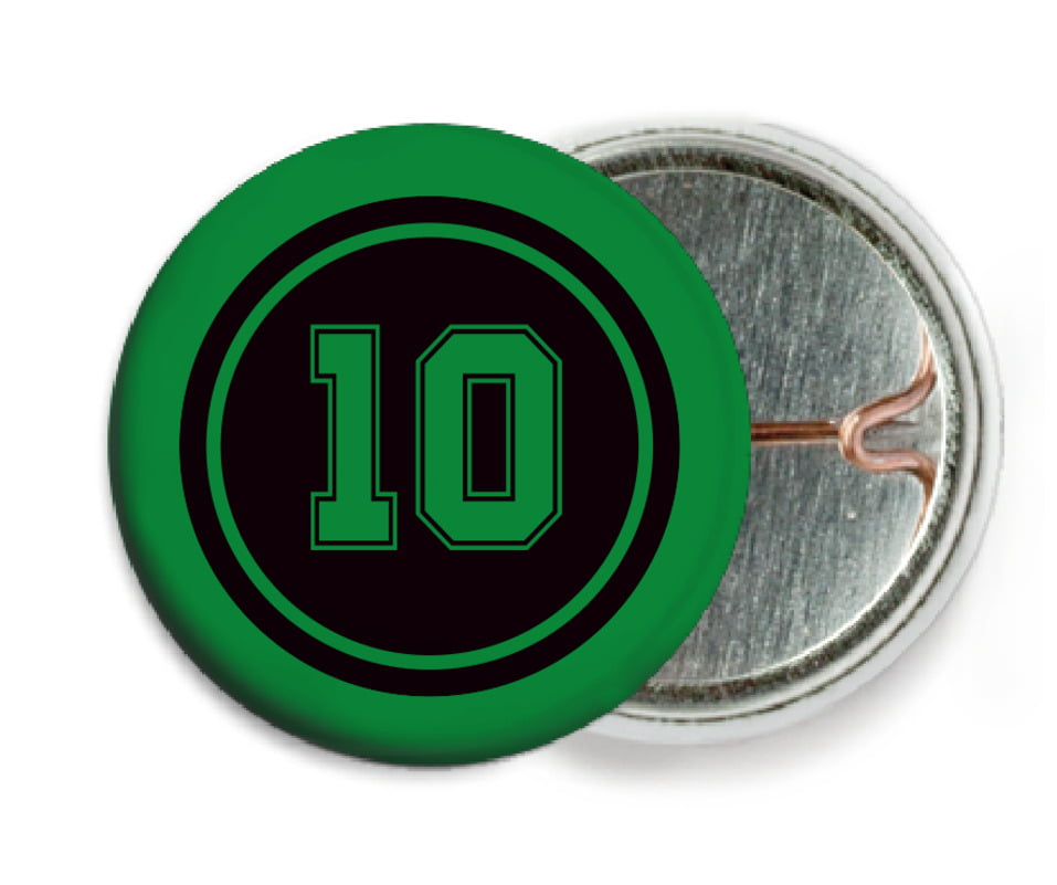 custom pin back buttons - black & green - football (set of 6)