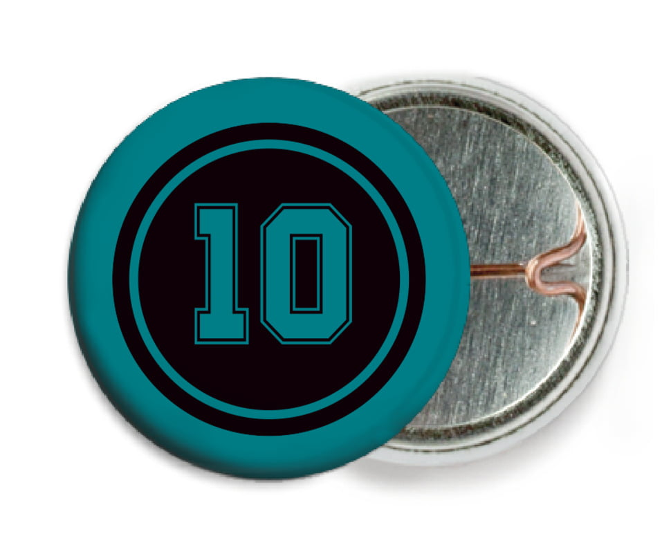 custom pin back buttons - black & teal - football (set of 6)