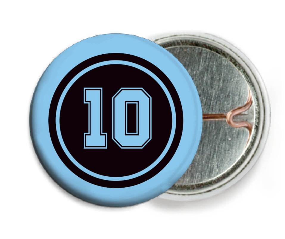 custom pin back buttons - black & light blue - football (set of 6)