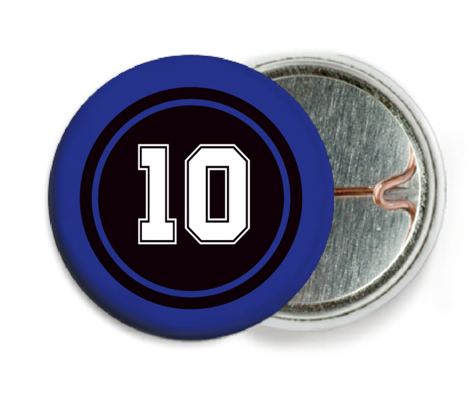 custom pin back buttons - black & royal - football (set of 6)