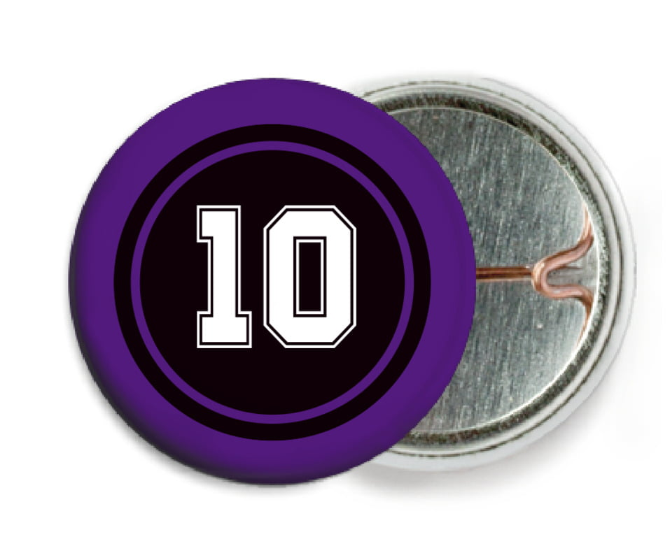 custom pin back buttons - black & purple - football (set of 6)