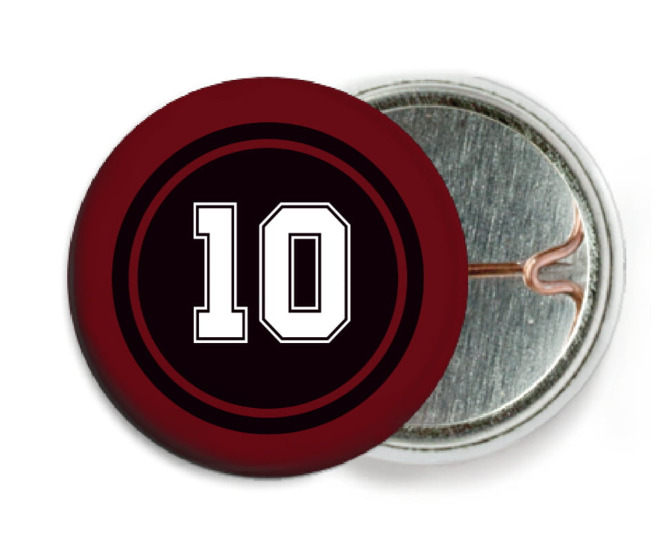 custom pin back buttons - black & maroon - football (set of 6)
