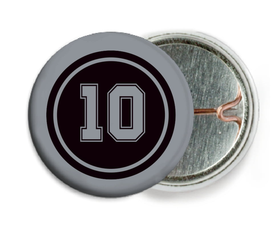 custom pin back buttons - black & silver - football (set of 6)