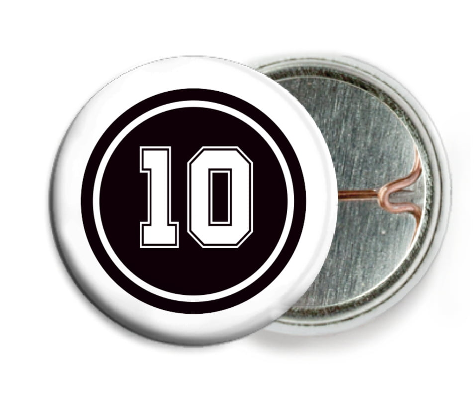 custom pin back buttons - black & white - football (set of 6)
