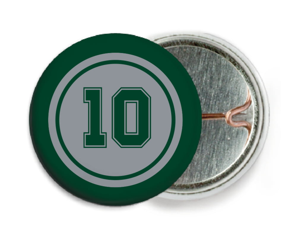 custom pin back buttons - silver & forest - football (set of 6)