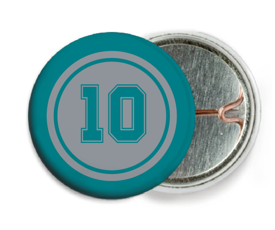 custom pin back buttons - silver & teal - football (set of 6)