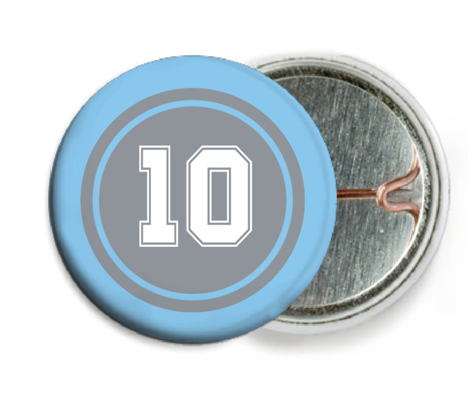 custom pin back buttons - silver & light blue - football (set of 6)