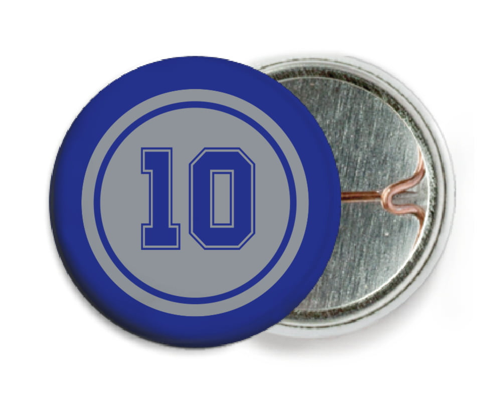 custom pin back buttons - silver & royal - football (set of 6)