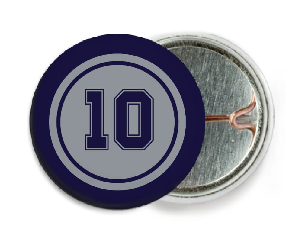 custom pin back buttons - silver & navy - football (set of 6)
