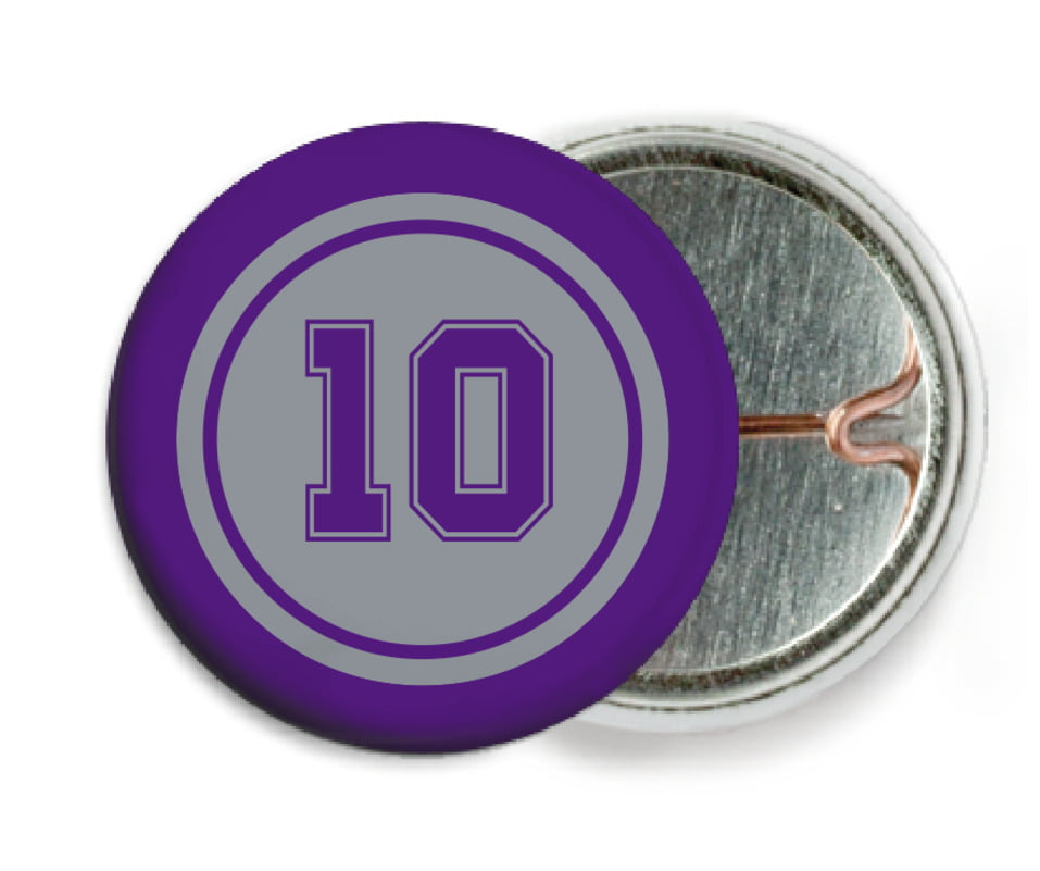 custom pin back buttons - silver & purple - football (set of 6)