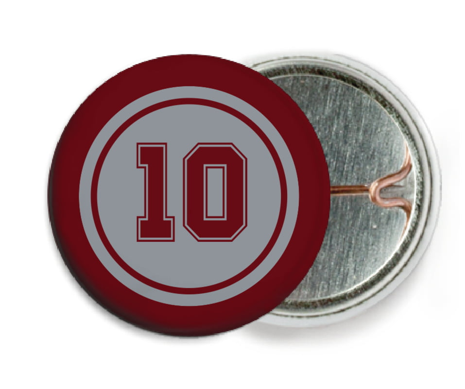custom pin back buttons - silver & maroon - football (set of 6)