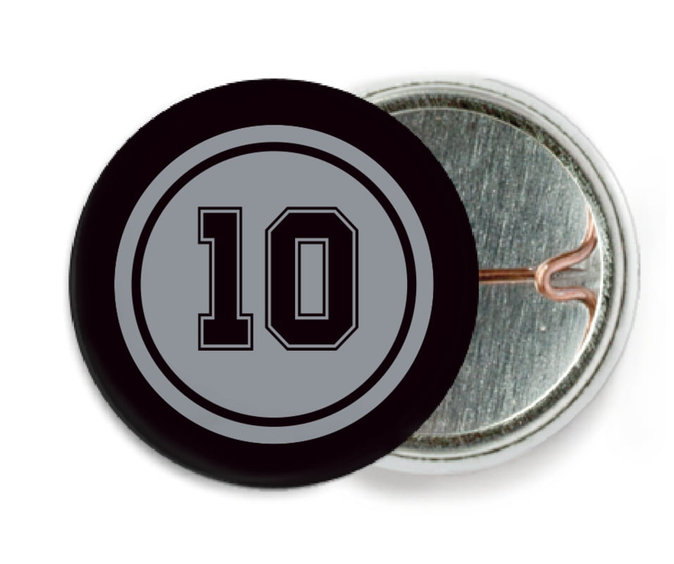 custom pin back buttons - silver & black - football (set of 6)