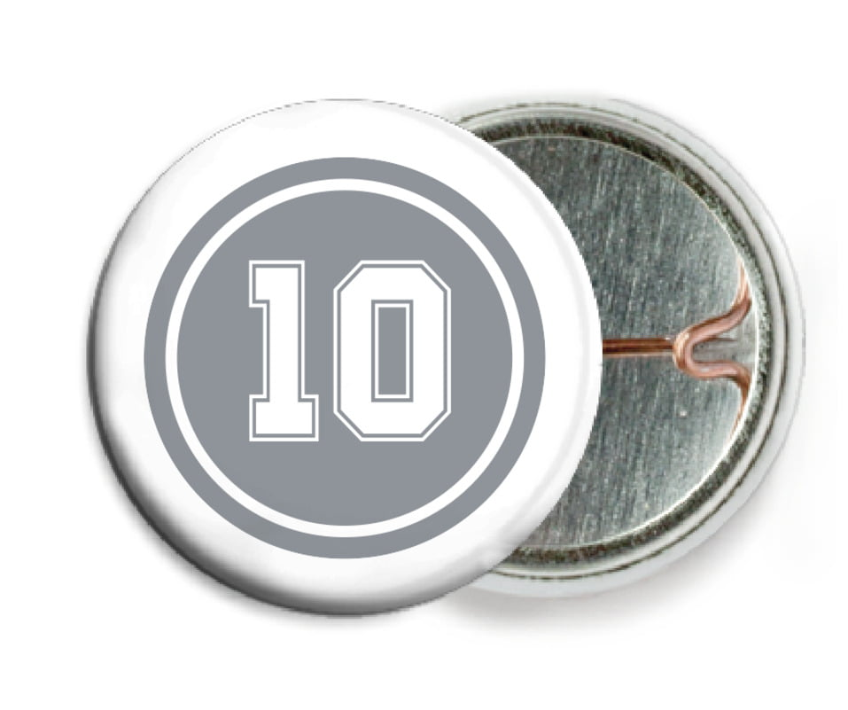 custom pin back buttons - silver & white - football (set of 6)