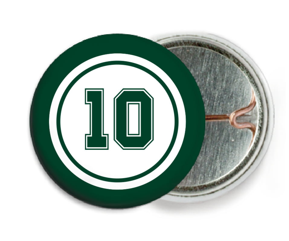 custom pin back buttons - white & forest - football (set of 6)