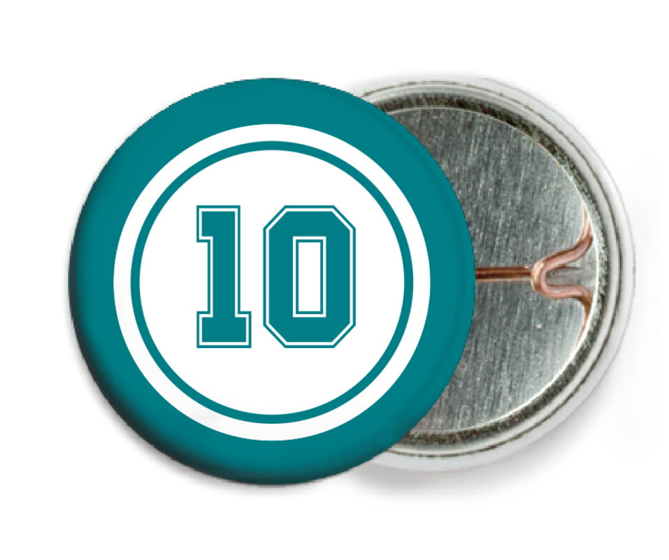 custom pin back buttons - white & teal - football (set of 6)