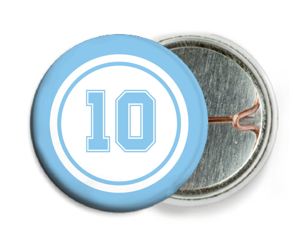 custom pin back buttons - white & light blue - football (set of 6)
