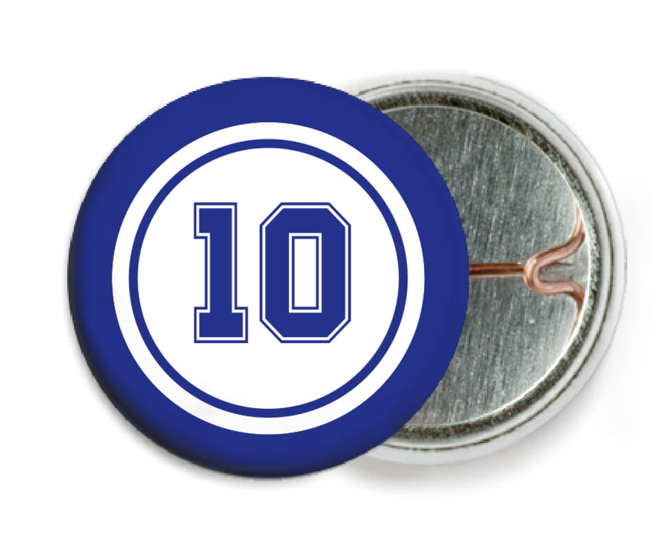 custom pin back buttons - white & royal - football (set of 6)